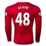 Manchester United 15/16 KEANE LS Home Soccer Jersey