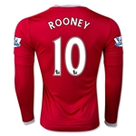 Manchester United 15/16 ROONEY LS Home Soccer Jersey