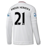 Manchester United 15/16 ANDER HERRERA LS Away Soccer Jersey