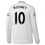 Manchester United 15/16 ROONEY LS Away Soccer Jersey
