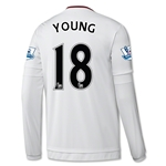 Manchester United 15/16 YOUNG LS Away Soccer Jersey