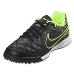 Nike Tiempo Genio Leather TF Junior (Black/Black/Volt)
