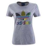 adidas Women's Pop Art Trefoil T-Shirt (Gray)