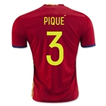 Spain 2016 PIQUE Home Soccer Jersey