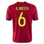 Spain 2016 A. INIESTA Youth Home Soccer Jersey