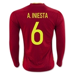 Spain 2016 A. INIESTA LS Home Soccer Jersey