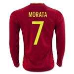 Spain 2016 MORATA LS Home Soccer Jersey