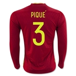 Spain 2016 PIQUE LS Home Soccer Jersey