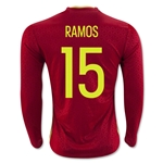 Spain 2016 RAMOS LS Home Soccer Jersey