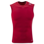 adidas TechFit Base Layer Sleeveless T-Shirt-White (Red)
