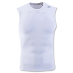 adidas TechFit Base Layer Sleeveless T-Shirt-White (White)