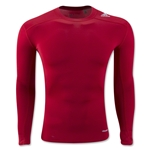 adidas TechFit Base Layer Long Sleeve T-Shirt (Red)
