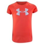 Under Armour Girls Solid Big Logo Tech T-Shirt (Orange)