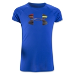 Under Armour Girls Solid Big Logo Tech T-Shirt (Royal Blue)