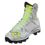 Under Armour LAX Highlight RM Junior Cleat (White/Metallic Silver)