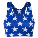 White and Blue Stars Sports Bra