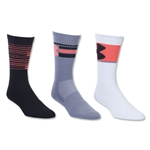 Under Armour Phenom Crew 3 Pack Sock (Neon Pink)