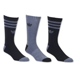 adidas Originals Cushioned 3 Pack Crew Sock (Black/Gray)