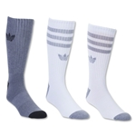 adidas Originals Cushioned 3 Pack Crew Sock (White/Gray)