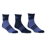 adidas Originals Cushioned 3 Pack Quarter Sock (Royal Blue)