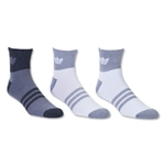 adidas Originals Cushioned 3 Pack Quarter Sock (White/Gray)