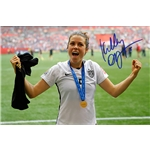 Kelley O'Hara Signed WWC USA Trophy Celebration 8x10 Photo