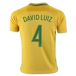 Brazil 2016 DAVID LUIZ Youth Home Soccer Jersey