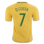 Brazil 2016 D. COSTA Authentic Home Soccer Jersey