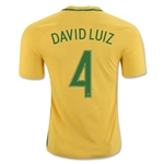 Brazil 2016 DAVID LUIZ Authentic Home Soccer Jersey