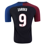 USA 2016 ZARDES Authentic Away Soccer Jersey
