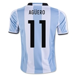 Argentina 2016 AGUERO Youth Home Soccer Jersey