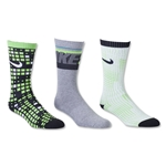 Nike 3 Pack Youth Graphic Cotton Cushion Crew Sock (Bk/Fg)