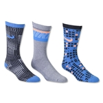 Nike 3 Pack Youth Graphic Cotton Cushion Crew Sock (Black/Royal)