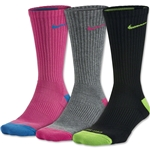 Nike Women's Dri-FIT Cushion Crew Sock 3 Pack (Black/Pink)