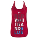 Under Armour Women's Red, White, Blue T-Back Tank (Red)