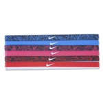 Nike Printed Headbands Assorted Six Pack (Blue)