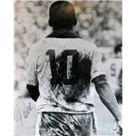Pele B/W Back View Signed 16x20 Photo