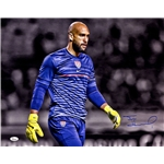 Tim Howard Signed USA Blue Jersey Horizontal 16x20