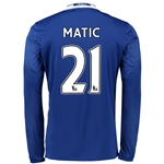 Chelsea 16/17 21 MATIC LS Home Soccer Jersey