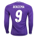 Real Madrid 16/17 BENZEMA LS Home Soccer Jersey