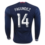 New England Revolution 2016 FAGUNDEZ LS Authentic Home Soccer Jersey