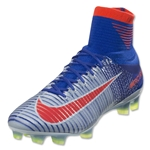 Nike Women's Mercurial Superfly V FG (Blue Tint/Bright Crimson)