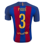 Barcelona 16/17 PIQUE Authentic Home Soccer Jersey