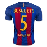 Barcelona 16/17 BUSQUETS Home Soccer Jersey