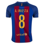 Barcelona 16/17 A. INIESTA Youth Home Soccer Jersey