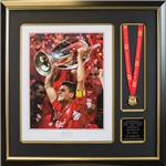 Steven Gerrard UCL Framed Photo (w/ medal)