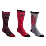 Nike Youth Graphic Crew 3 Pack Sock (Black/Red)