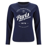 Paris Saint-Germain Circle Script Women's LS T-Shirt (Navy)