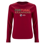 Portugal UEFA Euro 2016 Champions Women's LS T-Shirt (Red)
