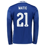 Chelsea 16/17 21 MATIC LS Linear Home Soccer Jersey
